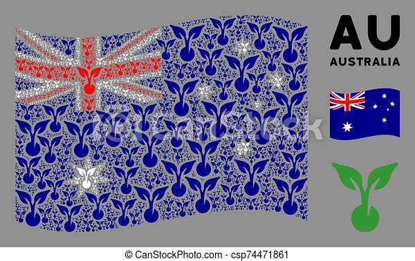 Waving Australia Flag Composition of Seed Sprout Items - csp74471861