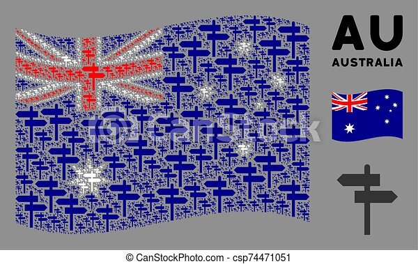 Waving Australia Flag Composition of Road Pointer Items - csp74471051