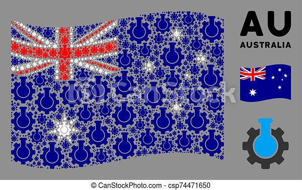 Waving Australia Flag Composition of Chemical Industry Icons - csp74471650