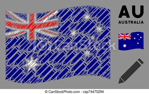 Waving Australia Flag Composition of Edit Pencil Icons - csp74470294