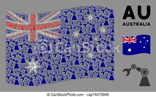 Waving Australia Flag Composition of Industrial Robot Items - csp74470948