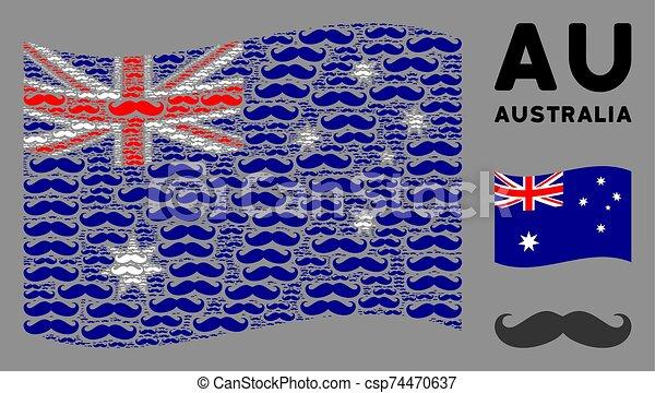 Waving Australia Flag Composition of Gentleman Moustache Icons - csp74470637