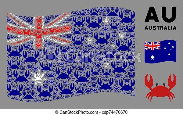 Waving Australia Flag Composition of Crab Icons - csp74470670