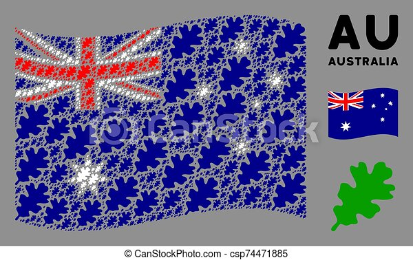 Waving Australia Flag Composition of Oak Leaf Items - csp74471885