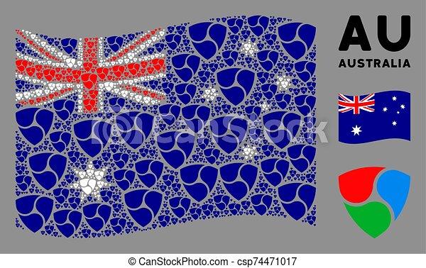 Waving Australia Flag Composition of Triple Shield Icons - csp74471017