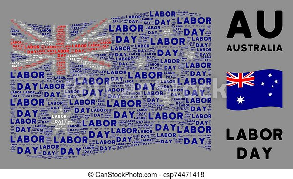 Waving Australia Flag Composition of Labor Day Texts - csp74471418