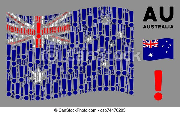 Waving Australia Flag Composition of Exclamation Sign Items - csp74470205