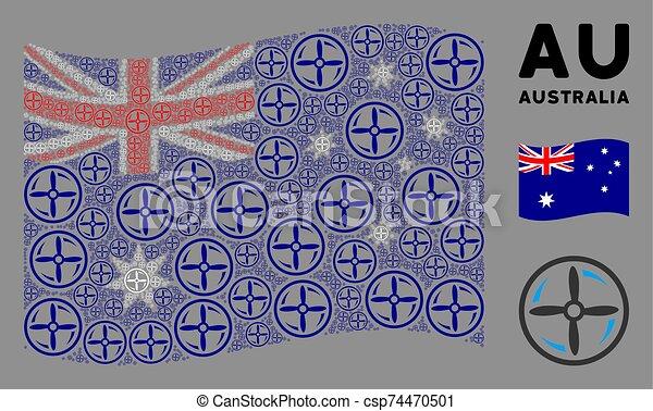 Waving Australia Flag Composition of Drone Screw Rotation Items - csp74470501