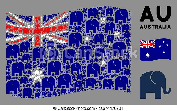 Waving Australia Flag Composition of Elephant Icons - csp74470701