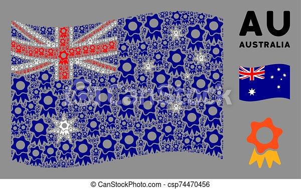 Waving Australia Flag Mosaic of Award Icons - csp74470456
