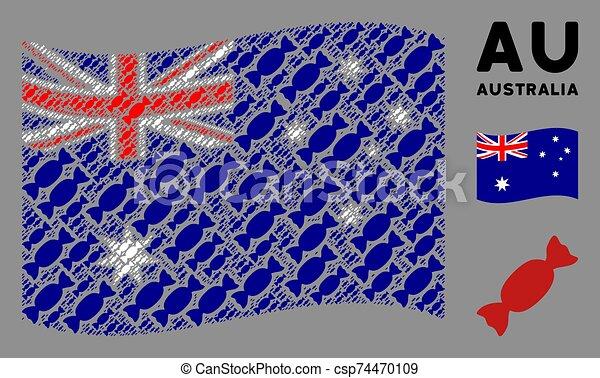 Waving Australia Flag Mosaic of Candy Icons - csp74470109