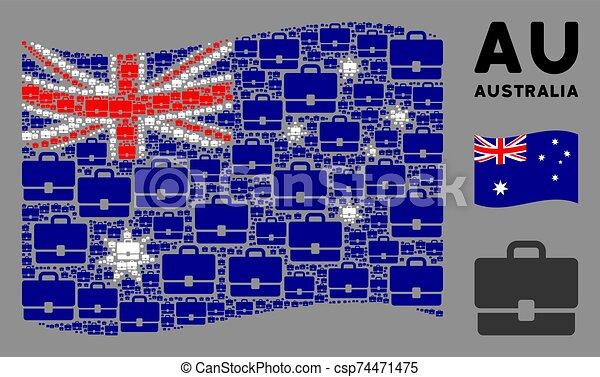 Waving Australia Flag Mosaic of Case Items - csp74471475