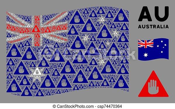 Waving Australia Flag Mosaic of Caution Items - csp74470364