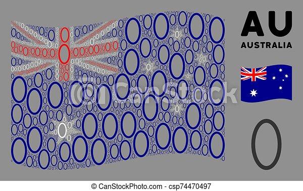 Waving Australia Flag Mosaic of Contour Ellipse Icons - csp74470497