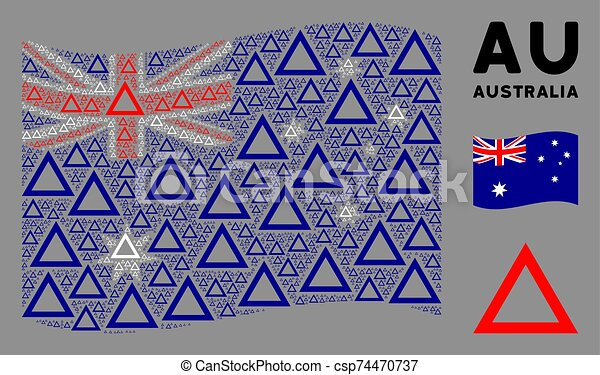 Waving Australia Flag Mosaic of Contour Triangle Items - csp74470737