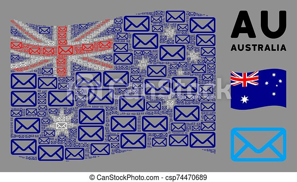 Waving Australia Flag Mosaic of Envelope Items - csp74470689