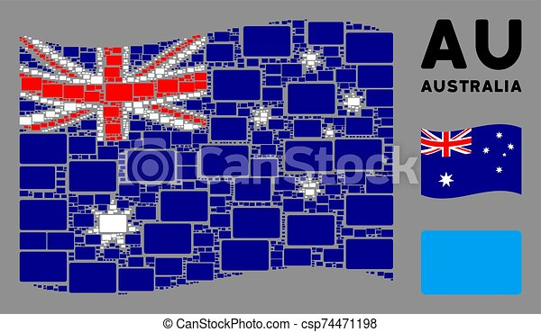 Waving Australia Flag Mosaic of Filled Rectangle Items - csp74471198