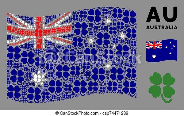 Waving Australia Flag Mosaic of Four-Leafed Clover Items - csp74471239