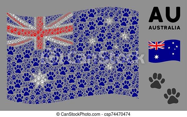 Waving Australia Flag Mosaic of Paw Footprints Icons - csp74470474