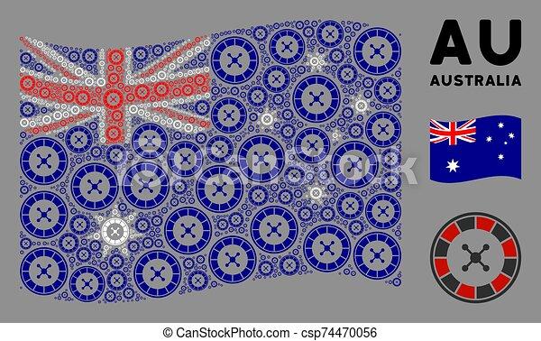 Waving Australia Flag Mosaic of Roulette Icons - csp74470056