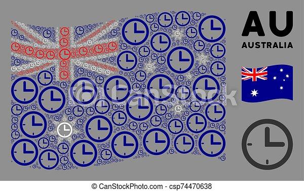 Waving Australia Flag Mosaic of Time Icons - csp74470638