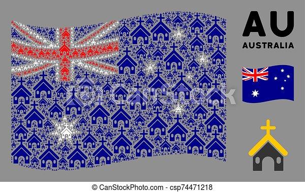 Waving Australia Flag Mosaic of Christian Church Icons - csp74471218