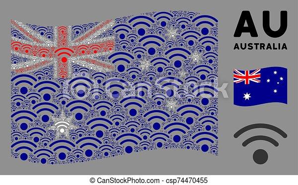 Waving Australia Flag Mosaic of Wi-Fi Icons - csp74470455