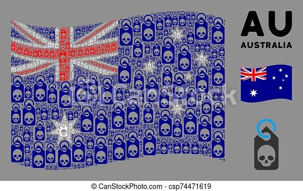 Waving Australia Flag Pattern of Death Skull Tag Icons - csp74471619