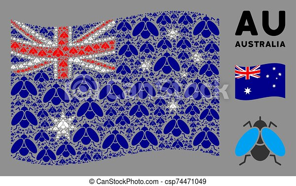 Waving Australia Flag Pattern of Fly Insect Items - csp74471049