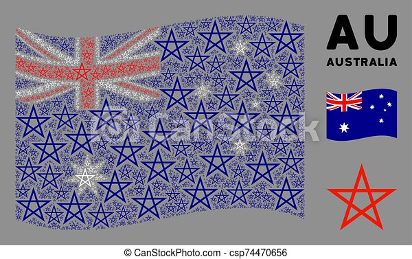 Waving Australia Flag Pattern of Star Pentagram Items - csp74470656