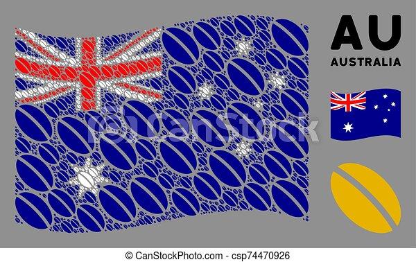 Waving Australia Flag Pattern of Wheat Seed Items - csp74470926