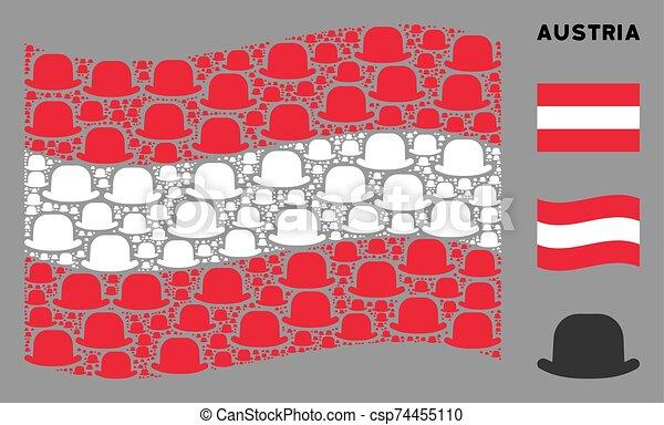 Waving Austria Flag Composition of Gentleman Hat Icons - csp74455110