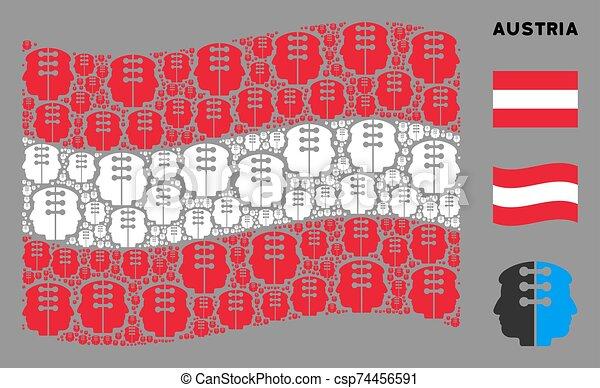 Waving Austria Flag Mosaic of Dual Head Interface Icons - csp74456591
