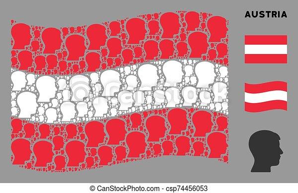 Waving Austrian Flag Mosaic of Man Head Profile Icons - csp74456053