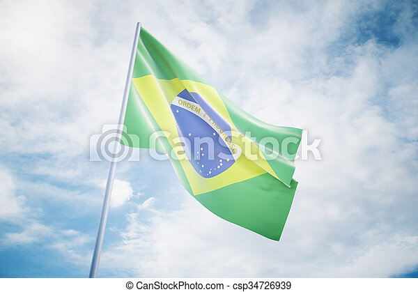 Waving Brazilian flag on a sky background - csp34726939