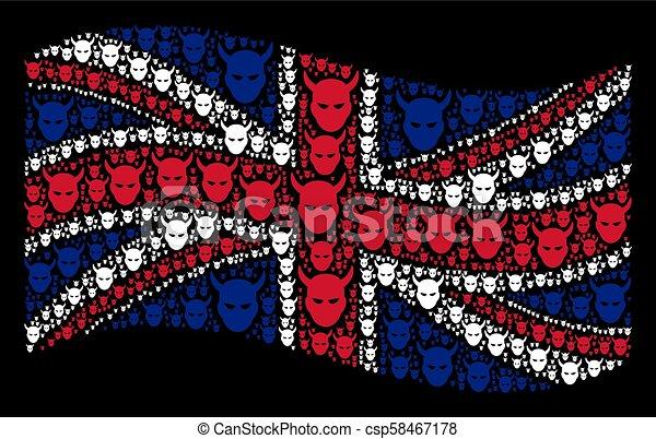 Waving British Flag Mosaic of Daemon Head Icons - csp58467178