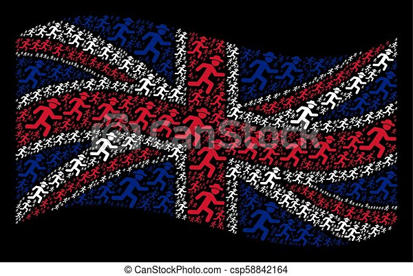 Waving British Flag Pattern of Running Gentleman Items - csp58842164