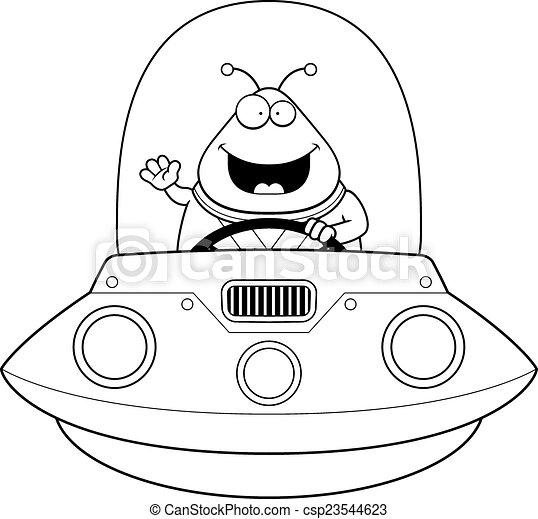 Waving Cartoon Alien Ufo A Cartoon Illustration Of An Alien In A