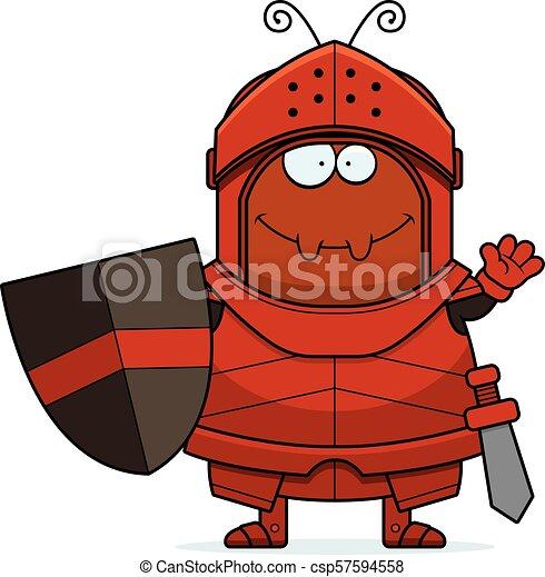 Waving Cartoon Ant Knight - csp57594558