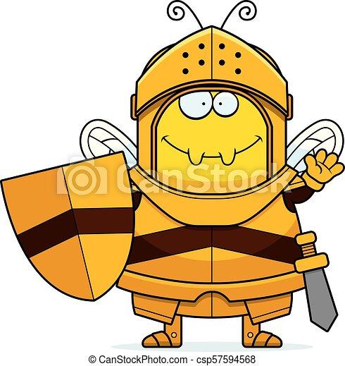 Waving Cartoon Bee Knight - csp57594568