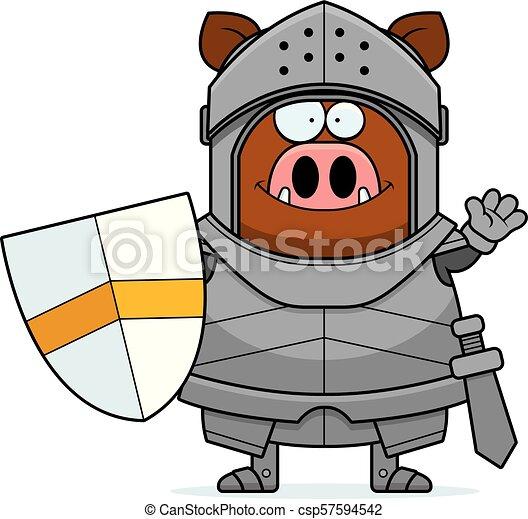 Waving Cartoon Boar Knight - csp57594542