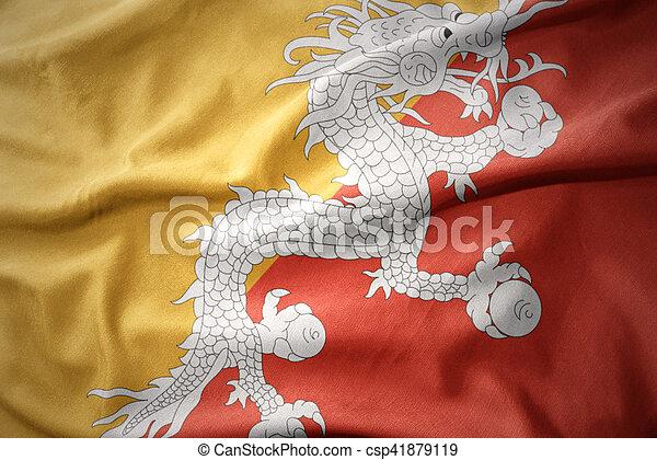 waving colorful flag of bhutan. - csp41879119