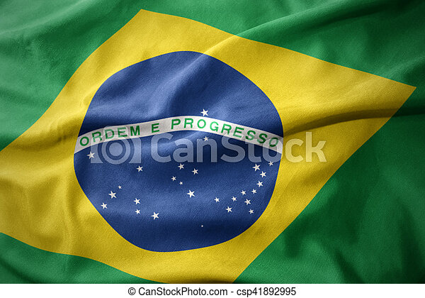 waving colorful flag of brazil. - csp41892995