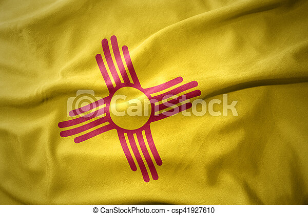 waving colorful flag of new mexico state. - csp41927610