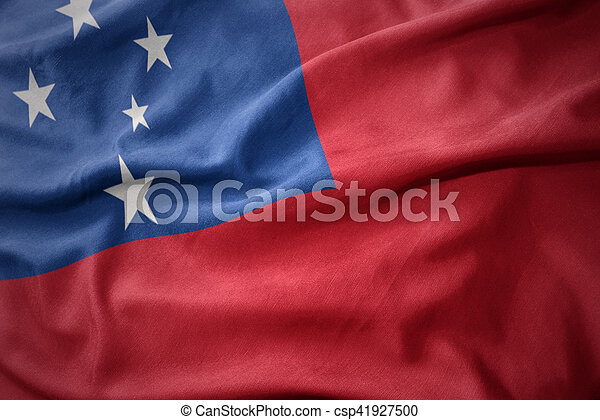 waving colorful flag of Samoa. - csp41927500