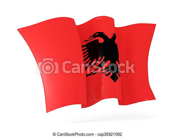 Waving flag of albania. 3D illustration - csp35921092