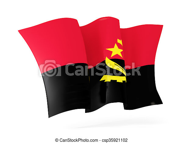 Waving flag of angola. 3D illustration - csp35921102