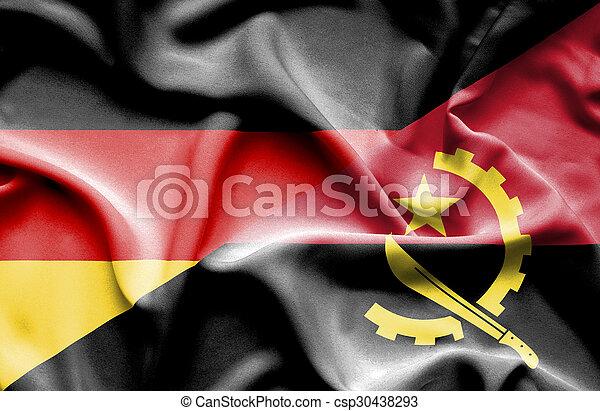 Waving flag of Angola and Germany - csp30438293