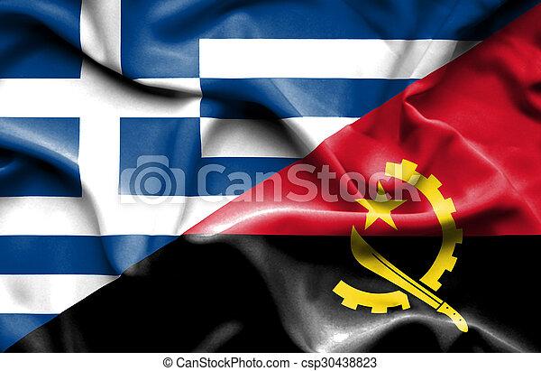Waving flag of Angola and Greece - csp30438823
