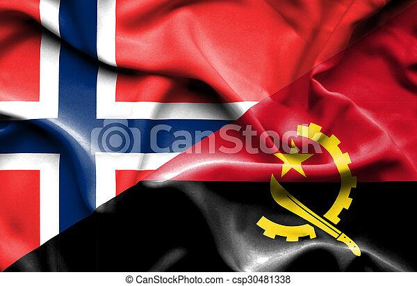 Waving flag of Angola and Norway - csp30481338